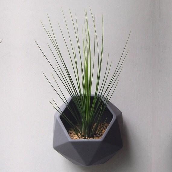hexagonal geometric ceramic wall planter. Black Bedroom Furniture Sets. Home Design Ideas