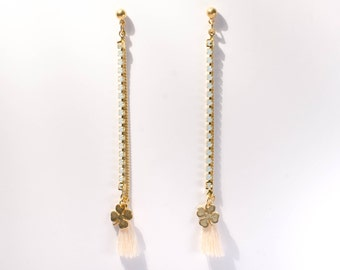 Crystal Constellation-white-Golden-based drop earrings with Swarovski crystals and tassels
