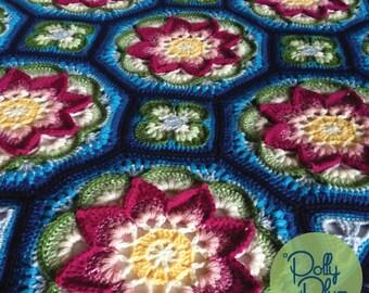 Crochet Pattern - Lotus Moon Tiles Afghan - an Original Polly Plum Design