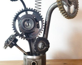 Custom Made Industrial Metal Flowers, Upcycled Car Parts, Steampunk, automotive, steel, gears, piston, con rod, art, scrap