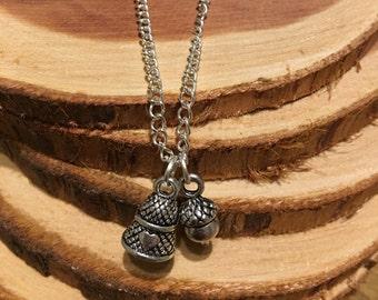 Peter Pan Wendy Kiss Thimble Acorn Necklace
