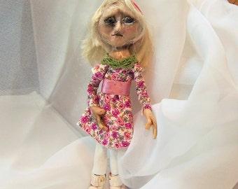 Goth Art Doll - Polymer Clay Art Doll -Polly Pocket Doll - Mini Poseable Art Doll - Sad Girl Doll