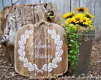 Fall Decor, Pumpkin, Autumn Blessing, Handpainted, Typography, Rustic, Halloween, Fall, Autumn, Harvest, Thanksgiving, Cottage Decor