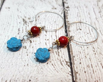 Flower Earrings, Howlite Earrings, Carved Howlite, Coral Earrings, Turquoise & Coral, Gifts For Her, Floral Jewelry, Flower Blossom Dangles