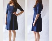 Cotton Jersey Day Dress 3/4 long Sleeve Empire aline knee length scoop neck jumper pullover stretch fabric navy blue dress Made to Order
