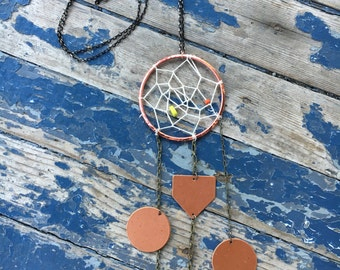 Earth Goddess Dreamcatcher Necklace Rose Gold Charms Bullet Shell Acorn