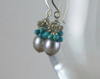 Grey Fresh Water Pearl, Turquoise And Labradorite Earrings