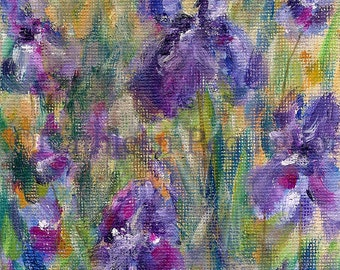 Original acrylic painting miniature small format art garden floral botanical Iris flower nature SFA OOAK