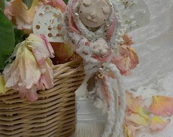 Luna Goddess, Creativity Muse and Cat Spirit. Shabby Chic Decor OOAK ART DOLL