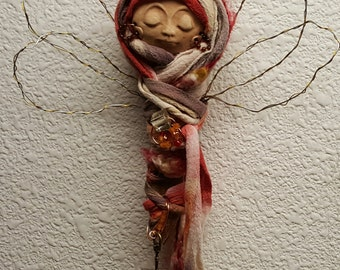 Dragonfly Fetish, Nature Spirit, ooak Art doll,  Garden Spirit,  Figurative Sculpture, Mix Media,Tree topper, wedding present, bridal shower