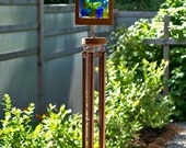 Wind Chimes Glass Cedar Kaleidoscope with Large Copper Chimes windchime