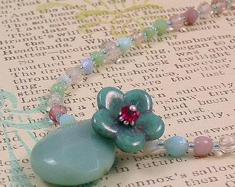 Glass flower Necklace - beaded flower necklace -  aqua flower necklace