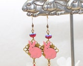 Pink Rabbit Earrings Cotton and Candy - Bunny Earrings - Bunny Rabbit Inspired - Rabbit Dangle Earrings