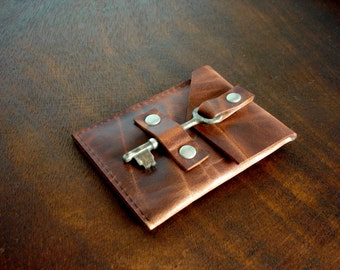 Leather Business Card Holder with Vintage Key Closure - Business Card Case - Leather Card Wallet
