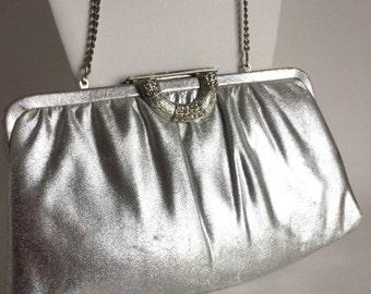 Vintage Silver Evening Bag Purse Clutch Handbag - Shiny Metallic with Textured Silver and Rhinestone Half Moon Clasp - Long Silver Chain