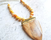 The Zenith-Wood Arrowhead Pendant and Yellow Agate Chain Long Necklace
