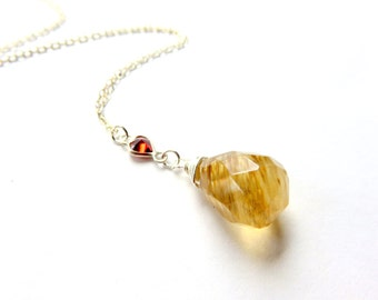 Butterscotch Yellow Quartz Pendant Necklace, Coffee Quartz on Sterling Silver Chain, Wire Wrapped Gemstone with Heart Link, Bold Teardrop
