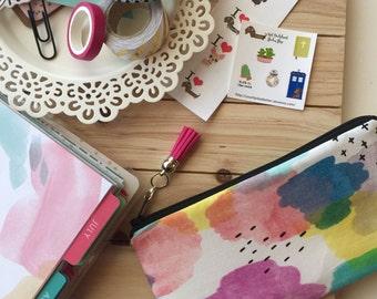 Watercolor print ,  pencil pouch , colorful zipper pouch , pen case , planner pouch , tassel charm pull , school bag