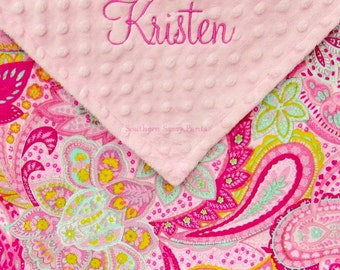 Personalized Toddler Girl Blanket Paisley Flowers Baby Girl Blanket , Pink Green Aqua Minky Floral and Minky Dot 36x40 - READ Description