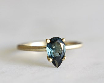 14k gold london blue topaz ring, alternative engagement ring, eco friendly gold,