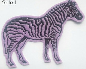 Zebra embroidered iron on sew on patch in bright lilac felt and black embroidery thread