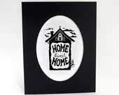 Home Sweet Home -Oval matted print - Bats and Cats to welcome people to your home