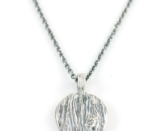Tree Bark Pendant with Moissanite Knot in Sterling Silver - Made to Order