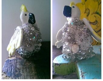 Miss Cockatoo, Porcelain, Ceramic, Fibre, Vintage Lace, Beaded, Doll, Australiana, Ornament, Crystals, Bride, Art Doll