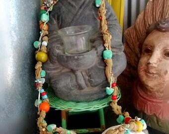 Free Spirit Necklace, Fibre, Beaded,  Boho Necklace, Long, Vintage Silk Crepe fabric, Ceramic, Clay, Glass, Shell, Wood