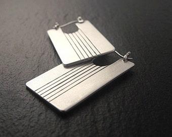 Rectangle Earrings, Silver Earrings, Hoop Earrings in Sterling Silver Art Deco Earrings, Handmade Earrings, Modern Earrings, Rectangular