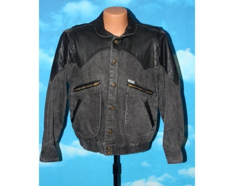 Guess Georges Marciano Black Leather and Denim Jean Jacket Vintage 1986