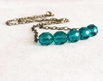 Emerald Crystal Bar Necklace, Dainty Layering Necklace, Minimalist Necklace, Birthstone Birthday Gift for her, Gift for women