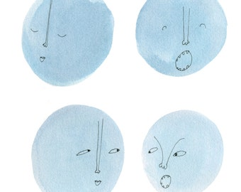 Square Greeting Card: Four Moon Heads