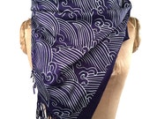 Wave Motif scarf. Japanese inspired Crashing Waves pashmina. Silkscreened pashmina; choose navy blue, cream & more.