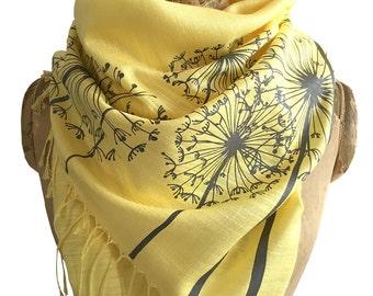 Dandelion Print Scarf. Shawl, wrap, cover up. Dandelion wish seed printed scarf. Silkscreened linen weave pashmina. grey on yellow & more.
