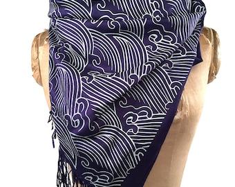 Wave Motif scarf. Japanese inspired Crashing Waves pashmina. Silkscreened pashmina; choose navy blue, cream & more.