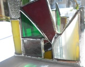 Mardi Gras Triangle Shaped Stained Glass Candle Holder