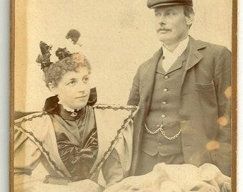 Victorian fashion couple hat dress book cabinet card unusual mustache photo