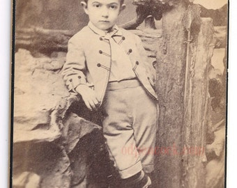 Darling boy Troy NY Magill promenade photo ID'd Fred Corse antique