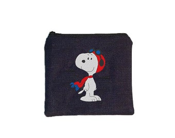 YOU CHOOSE:  Snoopy Zippered Denim Mini Coin Pouch
