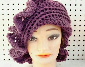 Mulberry Purple Cloche Hat, Womens Crochet Hat, Purple Womens Hat 1920s, Purple Hat, Flapper Hat, CYNTHIA 1920s Cloche Hat with Ruffle