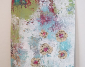 Collage Flower Painting- Original Acrylic Painting on Canvas, Landscape Painting that makes for Great Bedroom Wall Art