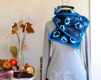 Modern Hand Tie Dyed Short Scarf / Muffler in Blue Black & Aqua in Blanket Wool