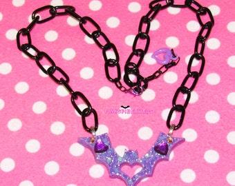 Purple Glitter Bat Resin Pendant Necklace With Black Chain