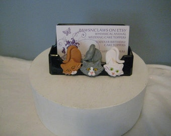 CATS business card holder, whimsical, clay, handmade, FeLinEs, kitty, cats butts