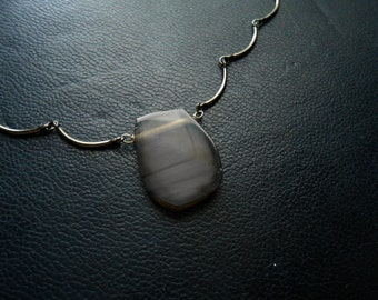 reduced - howl - grey black white sliced agate pendant on scalloped necklace chain - occult inspired festival fashion choker