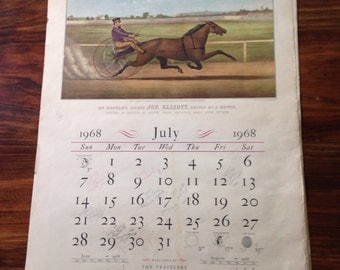 The Travelers Currier & Ives 1968 Calendar – Vintage – Published by The Travelers Insurance Company – Monthly Prints