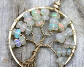 Opal Tree of Life Pendant 14k Gold Ethiopian Welo Opal October Birthstone Necklace Wire Wrapped Jewelry Opal Jewelry PhoenixFire Designs RTS