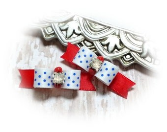 American Dog Bow, USA Pride, Blue Dots Puppy Bow, Election Dog Bow