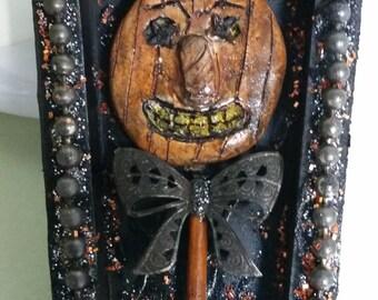 Halloween Ornie Jack O Lantern Pumpkin Assemblage Coffin AlteredArt Found Object